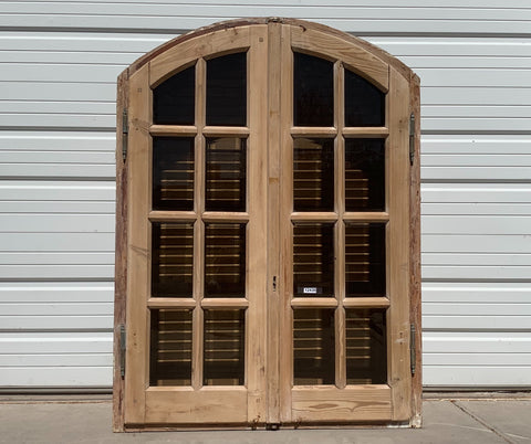 16 Pane Arched Natural Wood Window & Shutter Set