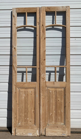 Pair of 5 Lite Stripped Wood Doors