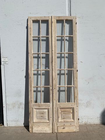 Pair of Antique 10 Lite Washed Wood French Doors