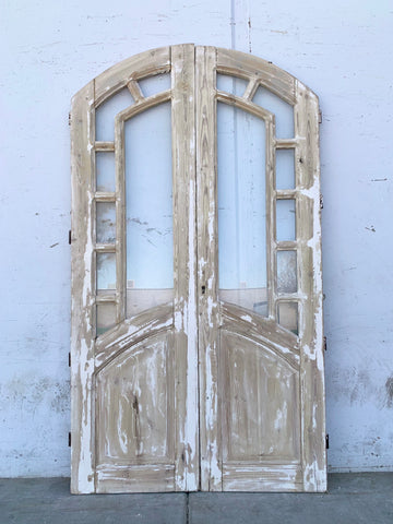 Pair of Arched 7 Lite Washed Wood Doors