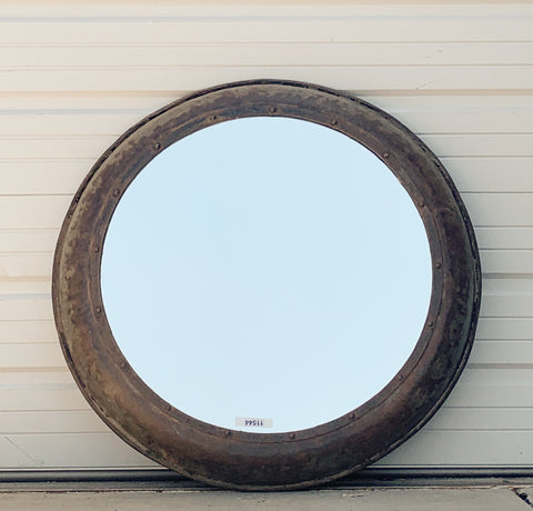 Round Industrial Galvanized Mirror