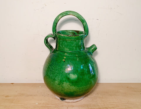 French Green Pottery Water Jug
