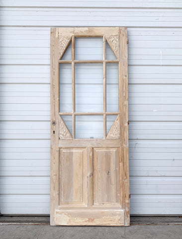Antique 12 Lite Washed Wood Single Door w. Floral Detail