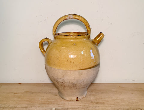 Yellow French Pottery Water Jug w. Lid