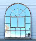 21 Pane Arched Iron Mirror