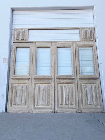Set of 4 Wood Single Lite Doors with Transom
