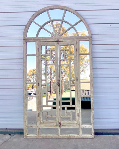Pair of Antique Mirrored Windows with Arched Transom
