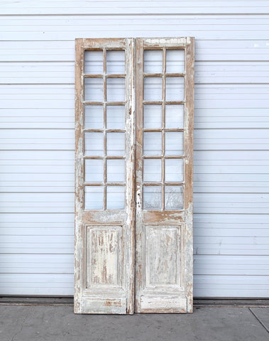 Pair of Antique 24 Lite Washed Wood French Doors