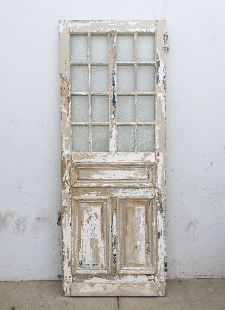 Painted White Door with 9 Glass Panes, c.1890 France