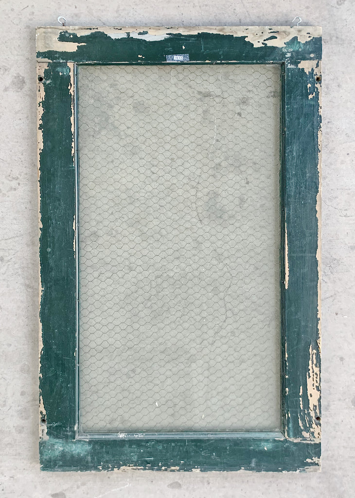 Single Pane Green Wood Window with Chicken Wire Glass