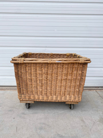 French Wicker Basket on Wheels