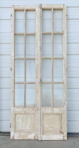 Pair of 8 Pane Wood and Glass French Doors