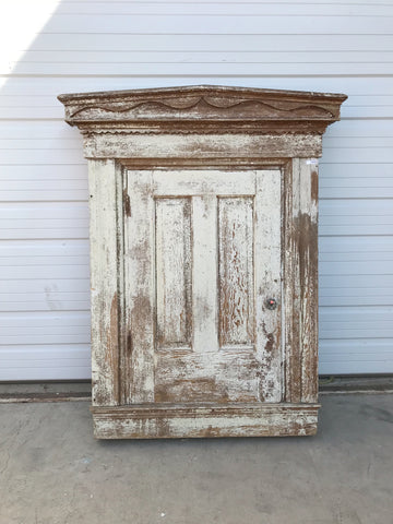 Antique White Pediment Wall Mounted Cabinet