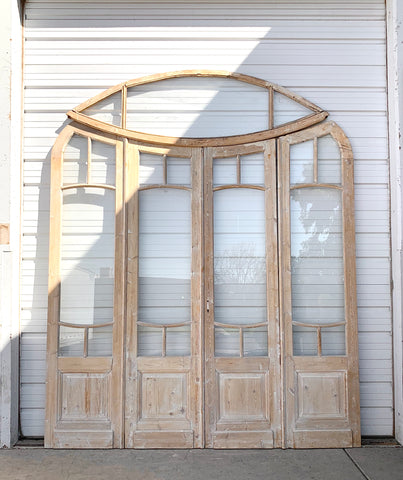 Set of Antique Bi-Folding French Doors with Oval Transom
