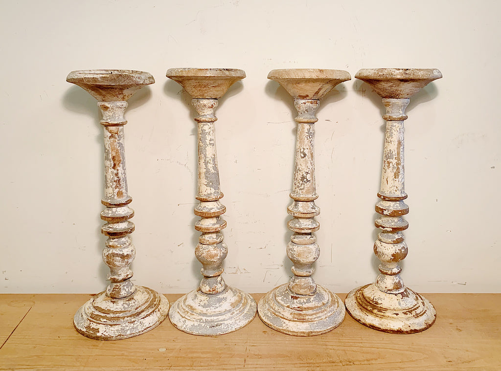 Set of 4 Wooden French Candlesticks (Decor)