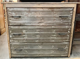 3 Drawer Repurposed Metal and Barnwood Dresser