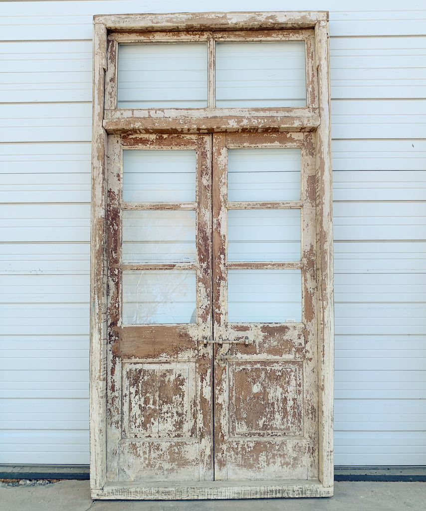Pair of 3 Pane Wood French Doors and Transom in Frame