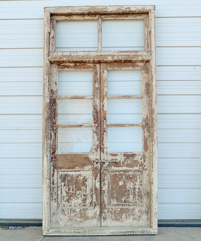Pair of 3 Pane Wood and Glass Doors/Transom in Frame