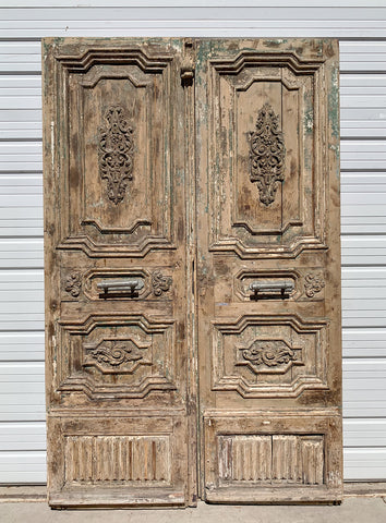 Pair of Ornate Carved 3 Panel Solid Wood Doors