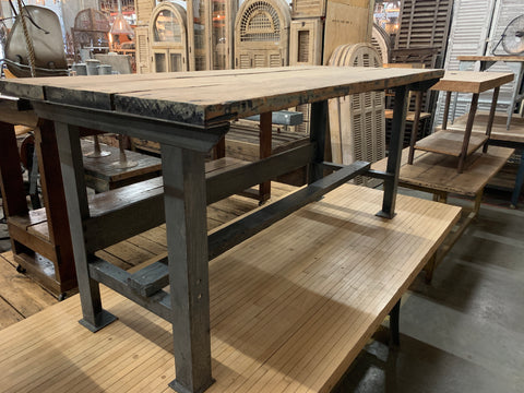 Wood and Steel Work Table