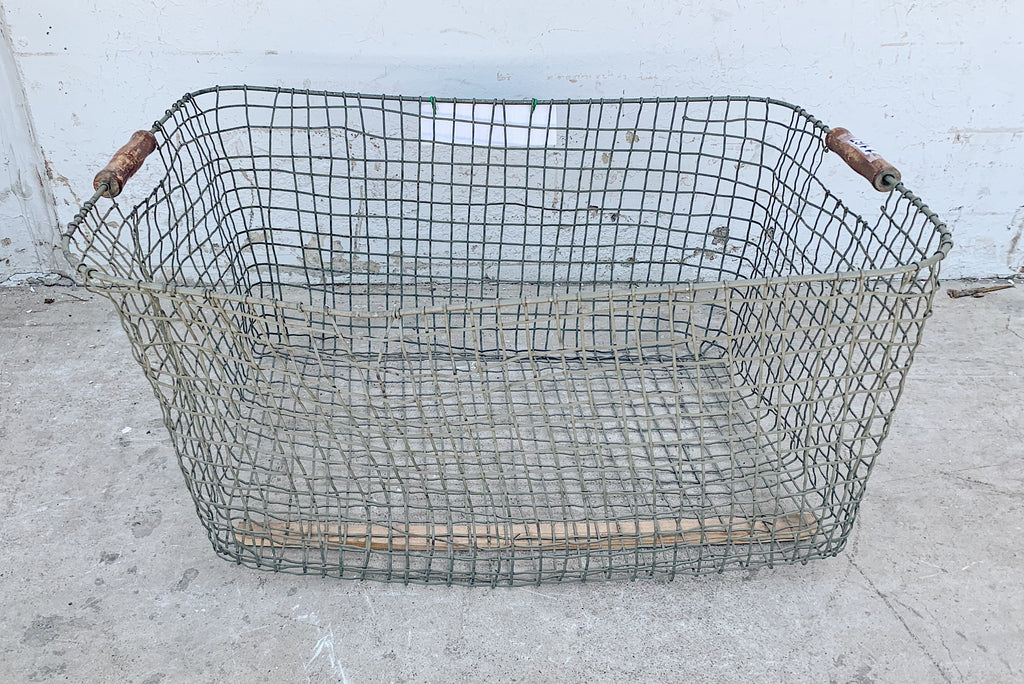French Wire Basket with Wooden Inset Handles