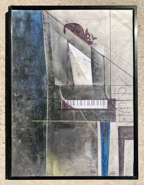 Cat On A Piano Quot Framed Painting Antiquities Warehouse