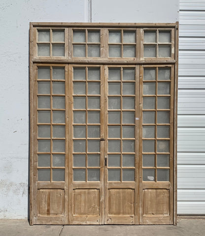 Set of 4 Wood French Doors with 16 Lites and Transom