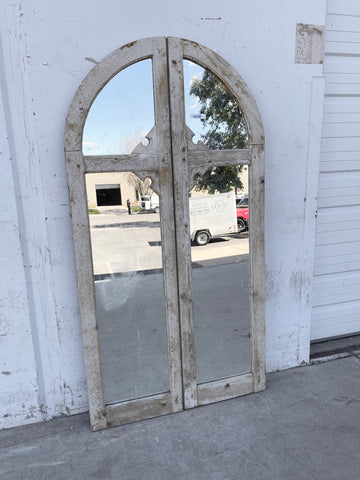 Washed Wood Pair of Mirrored Windows with 4 Panes