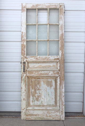 Painted Wood Door with 9 Glass Panes, c.1900 France