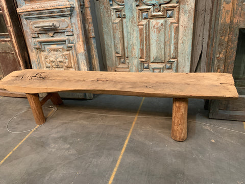 Natural Wood Primitive Bench