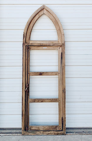 4 Pane Gothic Style Natural Wood Window Frame