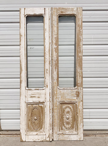 Pair of Carved Panel Wood Doors with Half Glass Lite