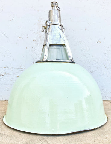 Industrial Mint Enamel Pendant Factory Light