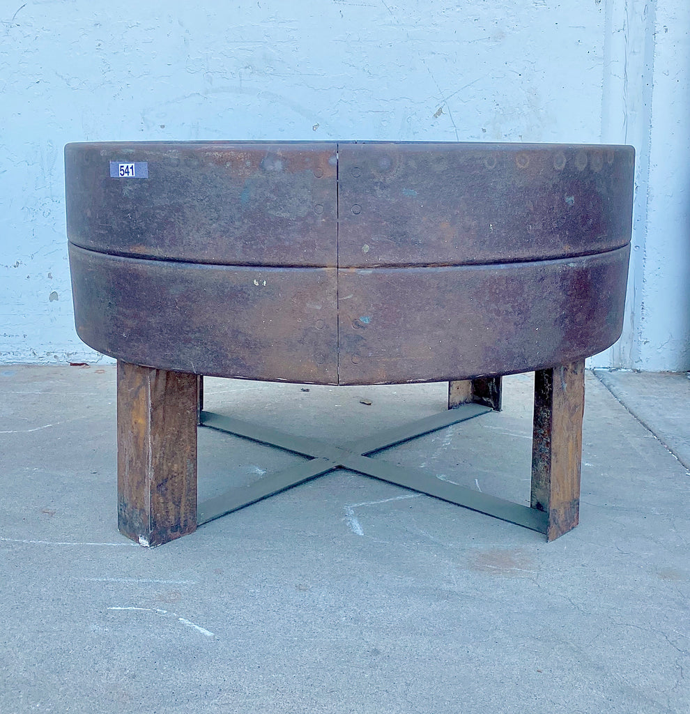 Repurposed Rusty Industrial Wheel Table/Base