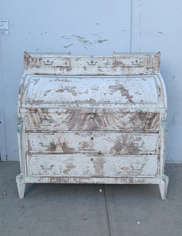 Distressed White Roll Top Desk