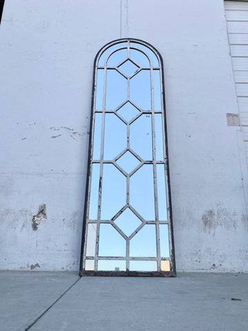 Iron Industrial Mirror with Diamond Panes