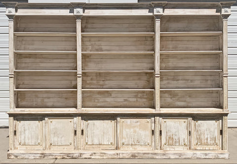 Distressed White Columned Wood Bookcase