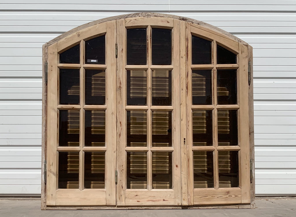 3 Panel 24 Pane Natural Wood & Brown Glass Window and Shutter Set (Medium)