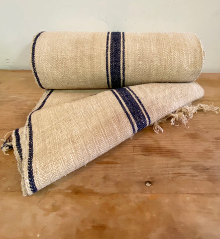 Roll of Blue Striped Grain Sack Fabric