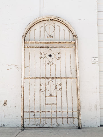 Arched Wood and Iron Window Guard/Gate
