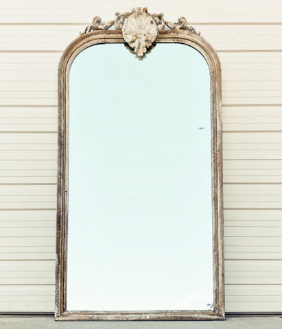 Ornate Arched Washed Wood Mirror