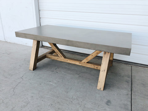 Dining Table with Wood Base and Concrete Top