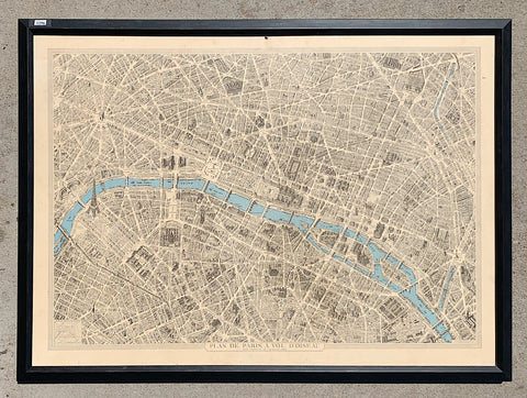 Framed 1800s Map of Paris/Art
