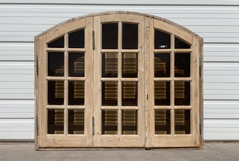 3 Panel 24 Pane Natural Wood & Brown Glass Window and Shutter Set (Small)