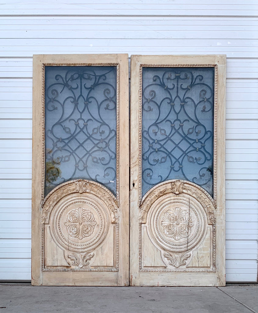 Pair of Antique Washed Oak Carved Doors w/ Iron Inserts