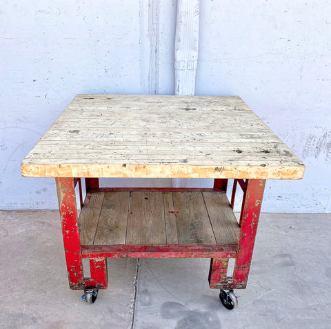 Red Trolley Table with Wood Top