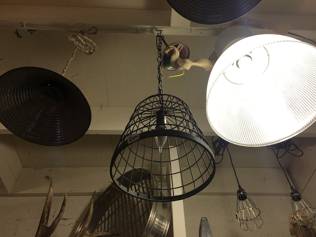 Industrial Black Caged Pendant Light