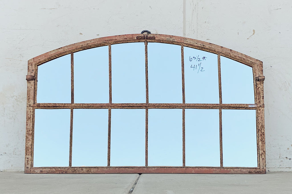 12 Pane Repurposed Arched Iron Factory Mirror