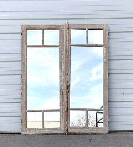 Pair of Antique 5 Pane Mirrored Washed Wood Windows