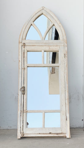 8 Pane White Gothic Style Mirror with Transom